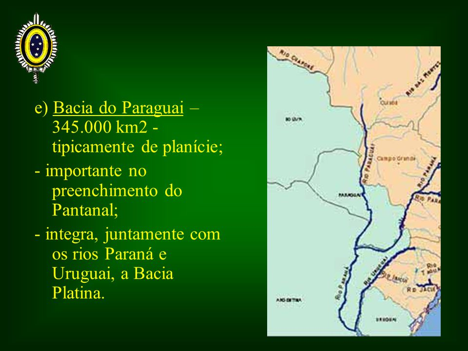 e) Bacia do Paraguai – 345.000 km2 - tipicamente de planície;