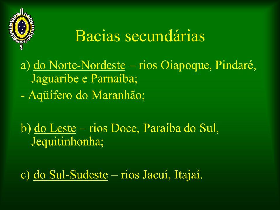 Bacias secundárias a) do Norte-Nordeste – rios Oiapoque, Pindaré, Jaguaribe e Parnaíba; - Aqüífero do Maranhão;