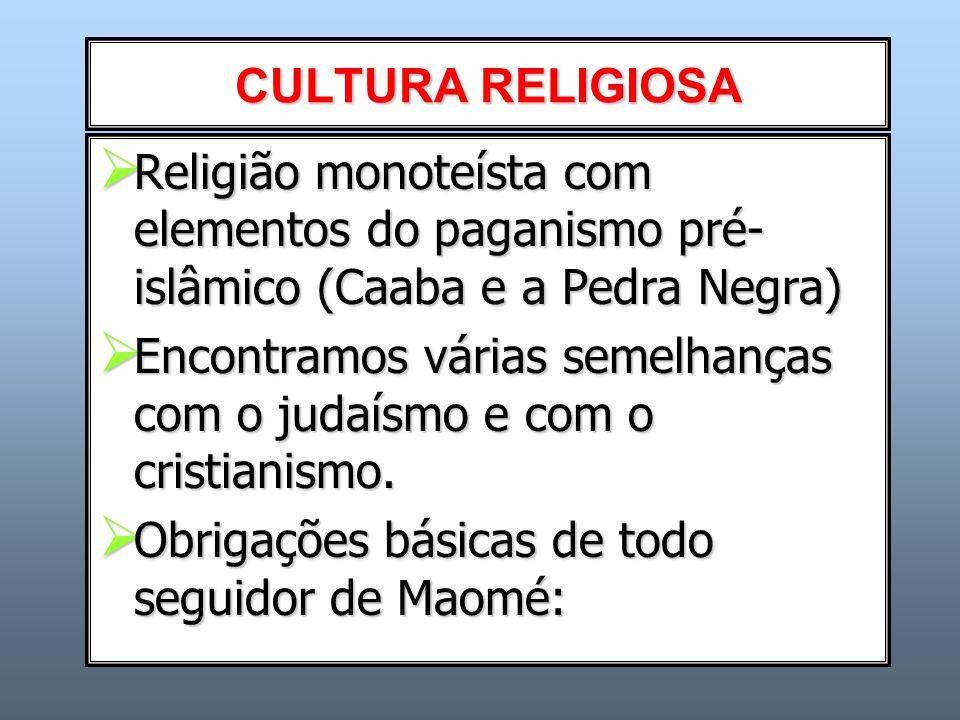 CULTURA RELIGIOSA Religião monoteísta com elementos do paganismo pré-islâmico (Caaba e a Pedra Negra)