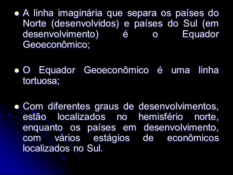 A linha imaginária que separa os países do Norte (desenvolvidos) e países do Sul (em desenvolvimento) é o Equador Geoeconômico;