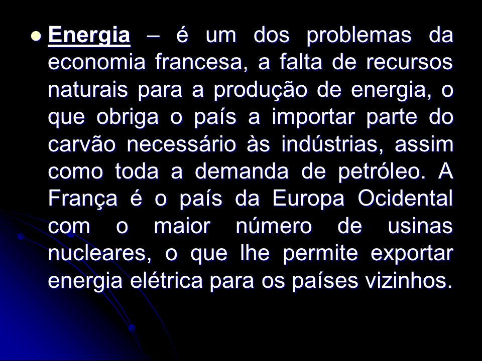 Energia – é um dos problemas da economia francesa, a falta de recursos naturais para a produção de energia, o que obriga o país a importar parte do carvão necessário às indústrias, assim como toda a demanda de petróleo.