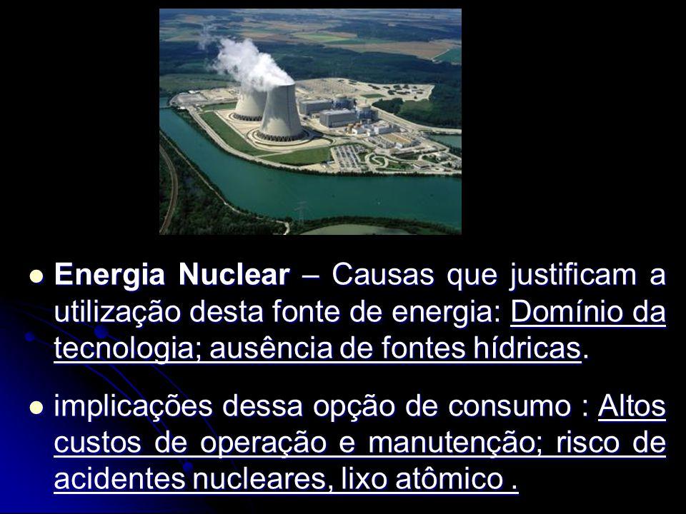 Energia Nuclear – Causas que justificam a utilização desta fonte de energia: Domínio da tecnologia; ausência de fontes hídricas.