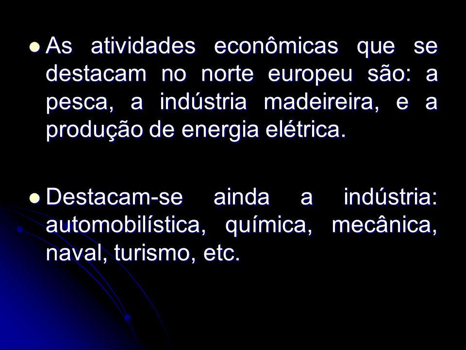 As atividades econômicas que se destacam no norte europeu são: a pesca, a indústria madeireira, e a produção de energia elétrica.
