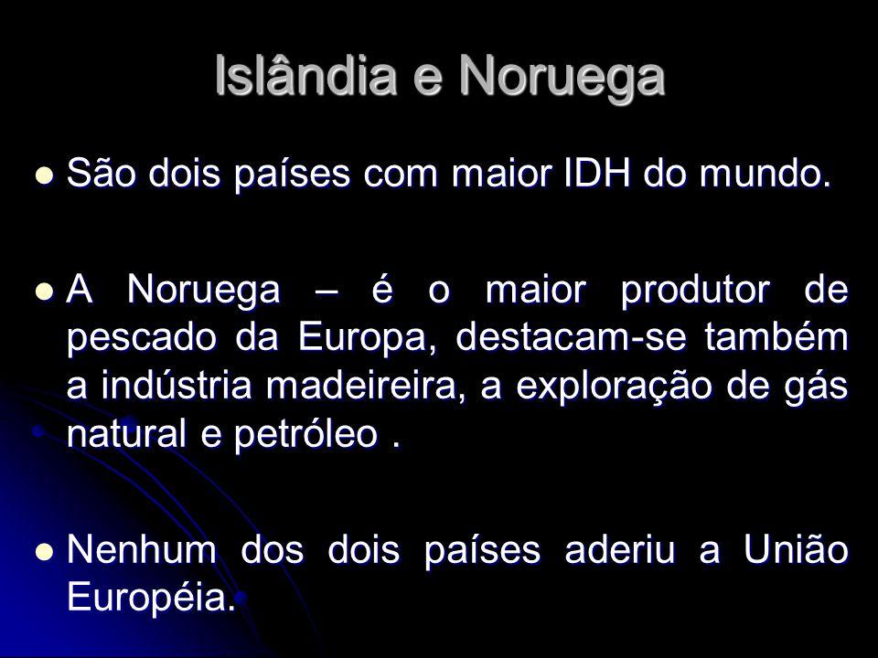 Islândia e Noruega São dois países com maior IDH do mundo.