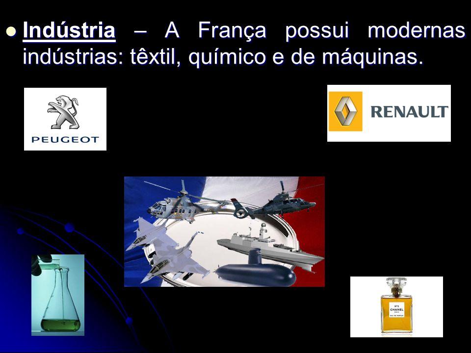 Indústria – A França possui modernas indústrias: têxtil, químico e de máquinas.