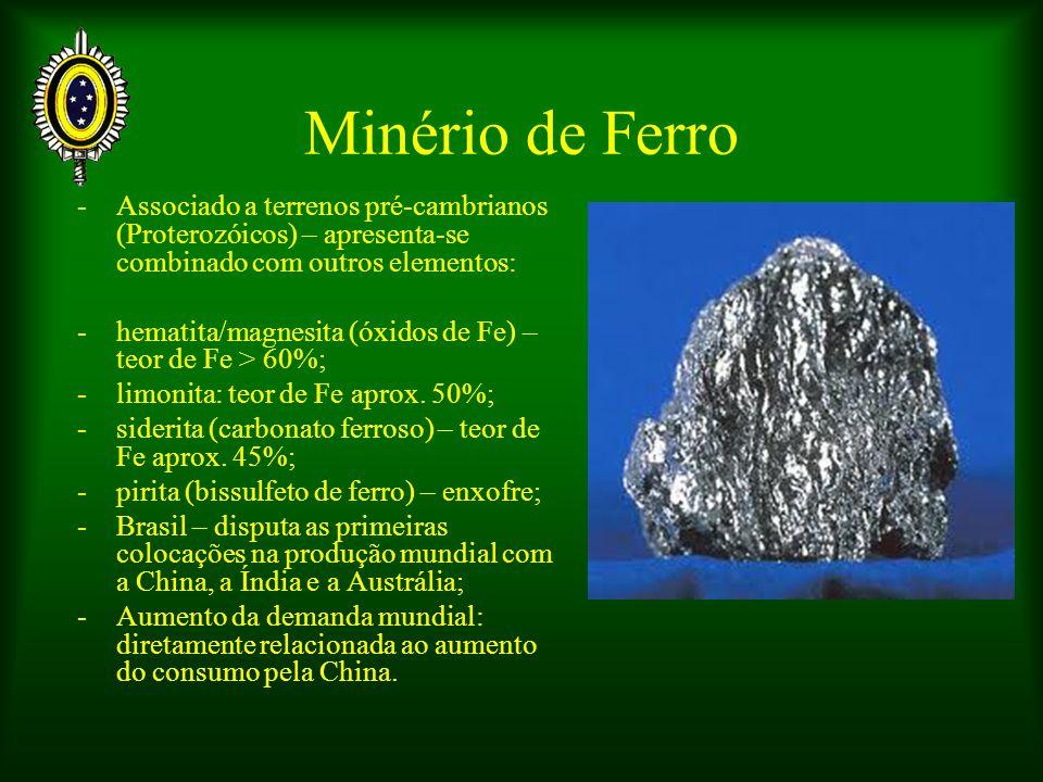 Minério de Ferro - Associado a terrenos pré-cambrianos (Proterozóicos) – apresenta-se combinado com outros elementos: