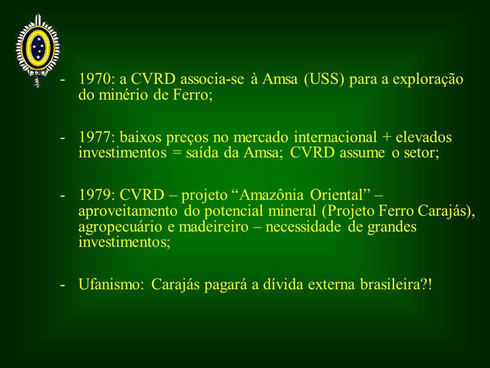 - 1970: a CVRD associa-se à Amsa (USS) para a exploração do minério de Ferro;