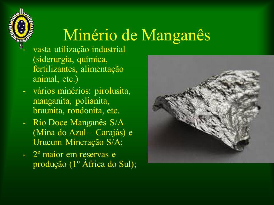 Minério de Manganês - vasta utilização industrial (siderurgia, química, fertilizantes, alimentação animal, etc.)