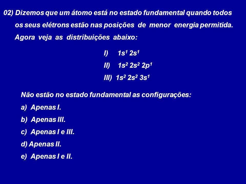 02) Dizemos que um átomo está no estado fundamental quando todos