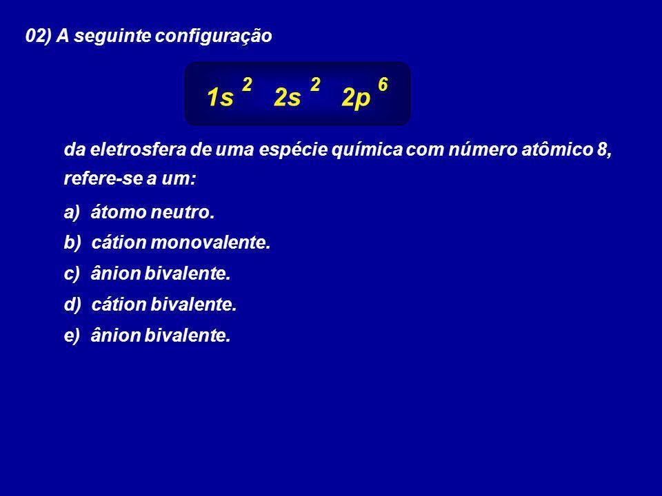 1s 2s 2p 02) A seguinte configuração 2 2 6