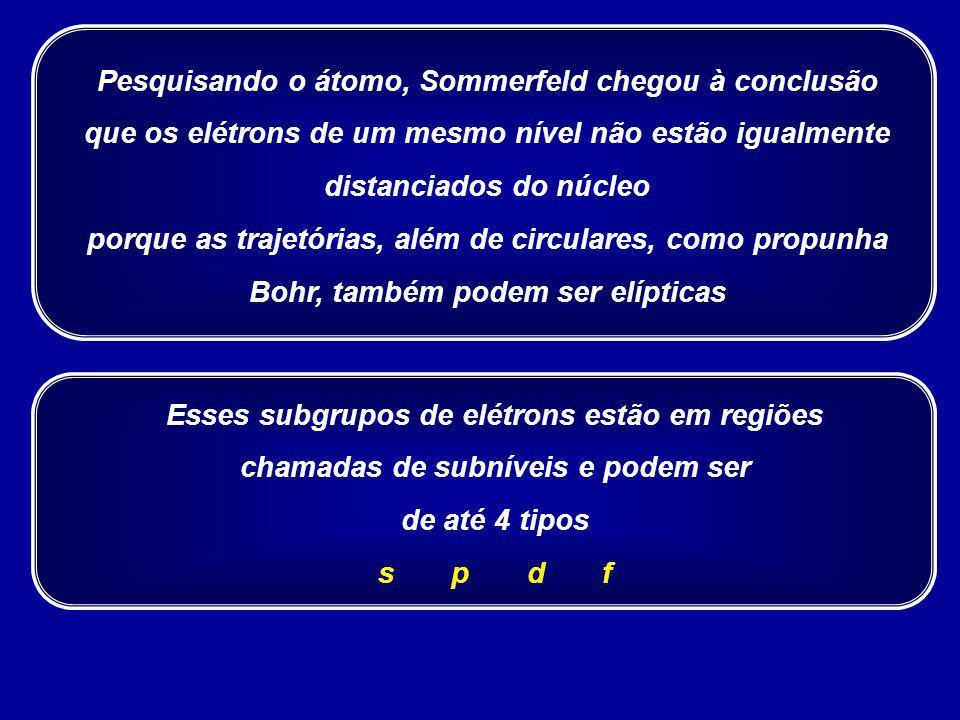 Pesquisando o átomo, Sommerfeld chegou à conclusão que os elétrons de um mesmo nível não estão igualmente distanciados do núcleo