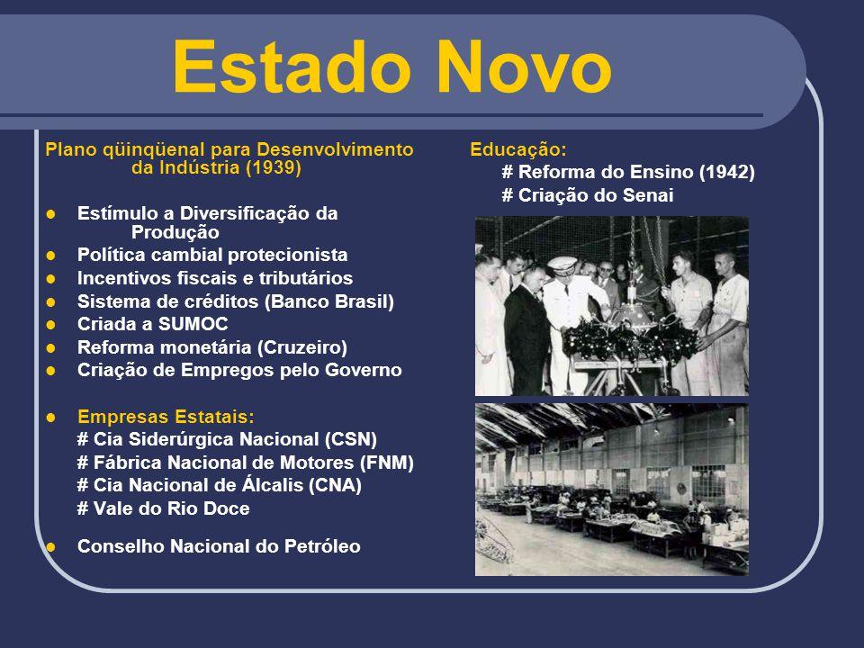 Estado Novo Plano qüinqüenal para Desenvolvimento da Indústria (1939)