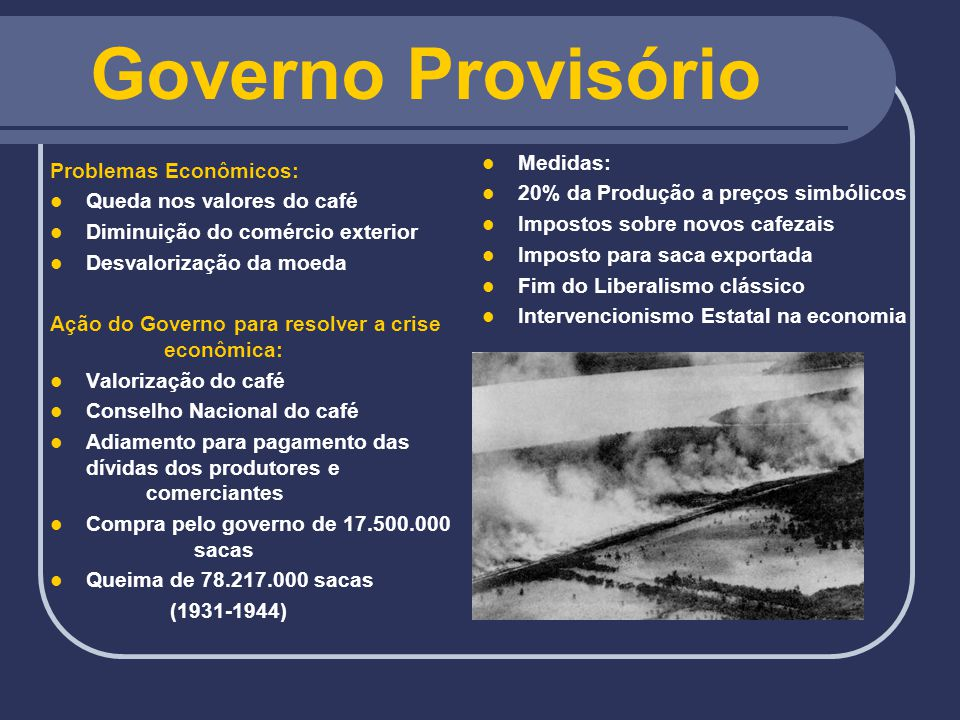 Governo Provisório Medidas: Problemas Econômicos: