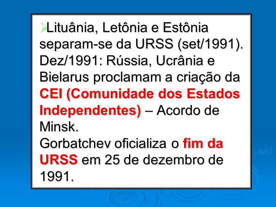 Lituânia, Letônia e Estônia separam-se da URSS (set/1991)