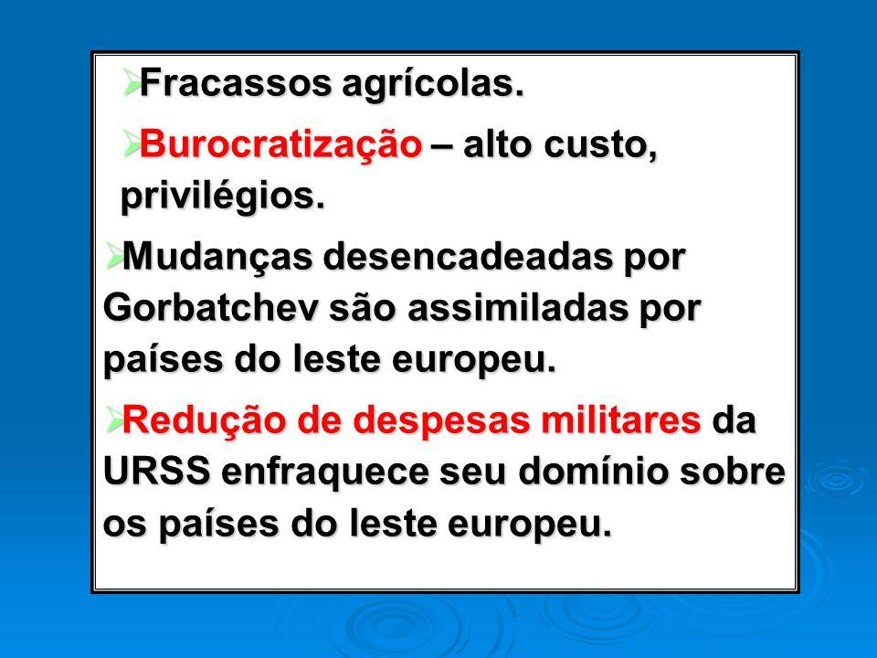 Fracassos agrícolas. Burocratização – alto custo, privilégios. Mudanças desencadeadas por Gorbatchev são assimiladas por países do leste europeu.