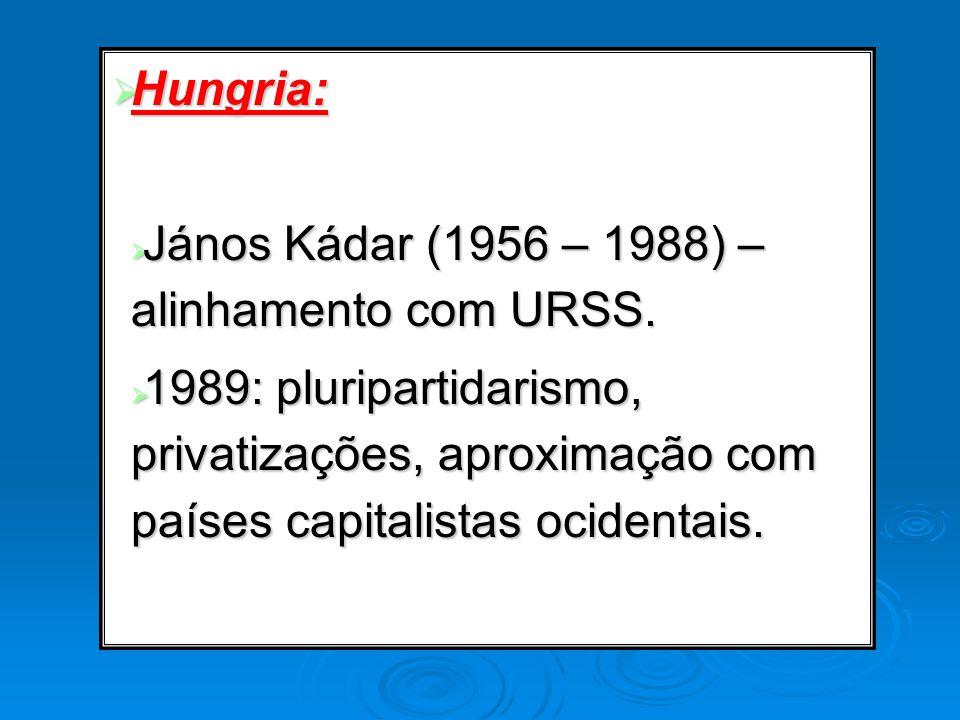 Hungria: János Kádar (1956 – 1988) – alinhamento com URSS.