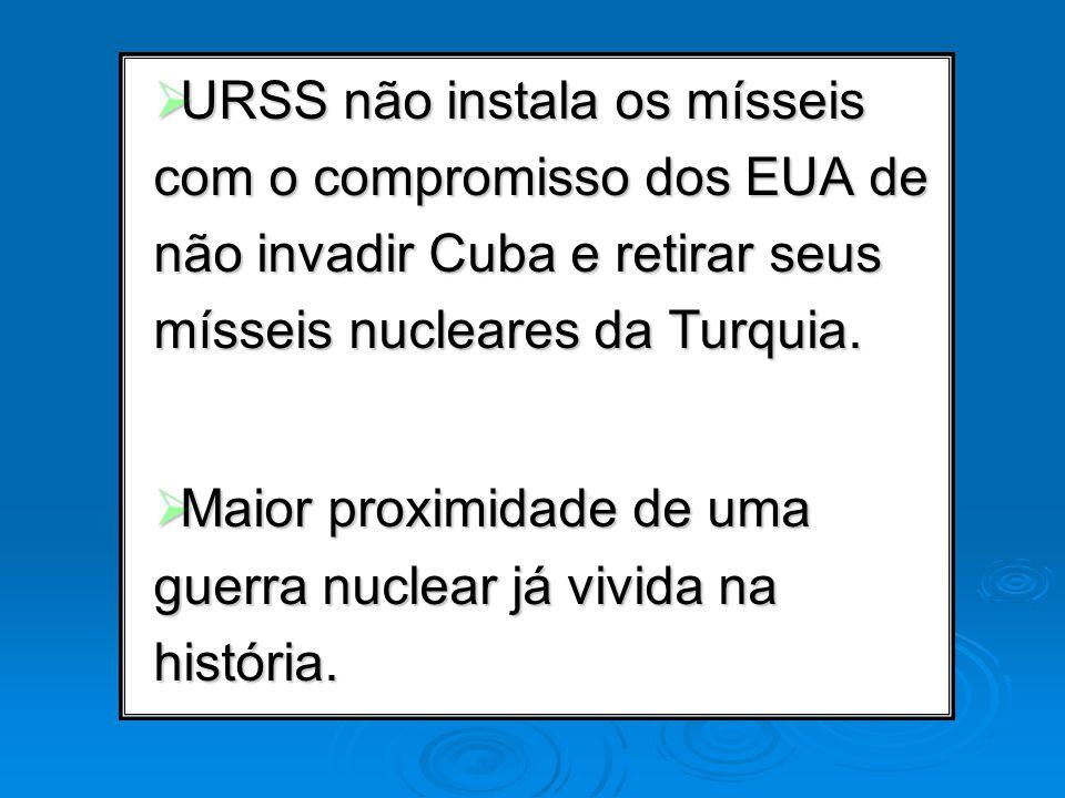 URSS não instala os mísseis com o compromisso dos EUA de não invadir Cuba e retirar seus mísseis nucleares da Turquia.