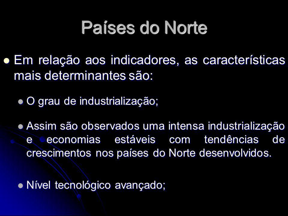 Países do Norte Em relação aos indicadores, as características mais determinantes são: O grau de industrialização;