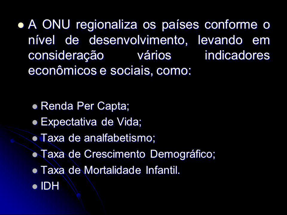 A ONU regionaliza os países conforme o nível de desenvolvimento, levando em consideração vários indicadores econômicos e sociais, como: