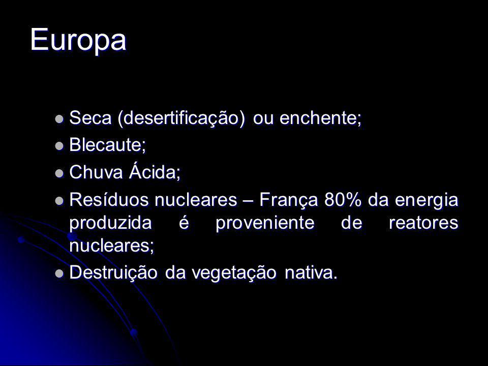 Europa Seca (desertificação) ou enchente; Blecaute; Chuva Ácida;