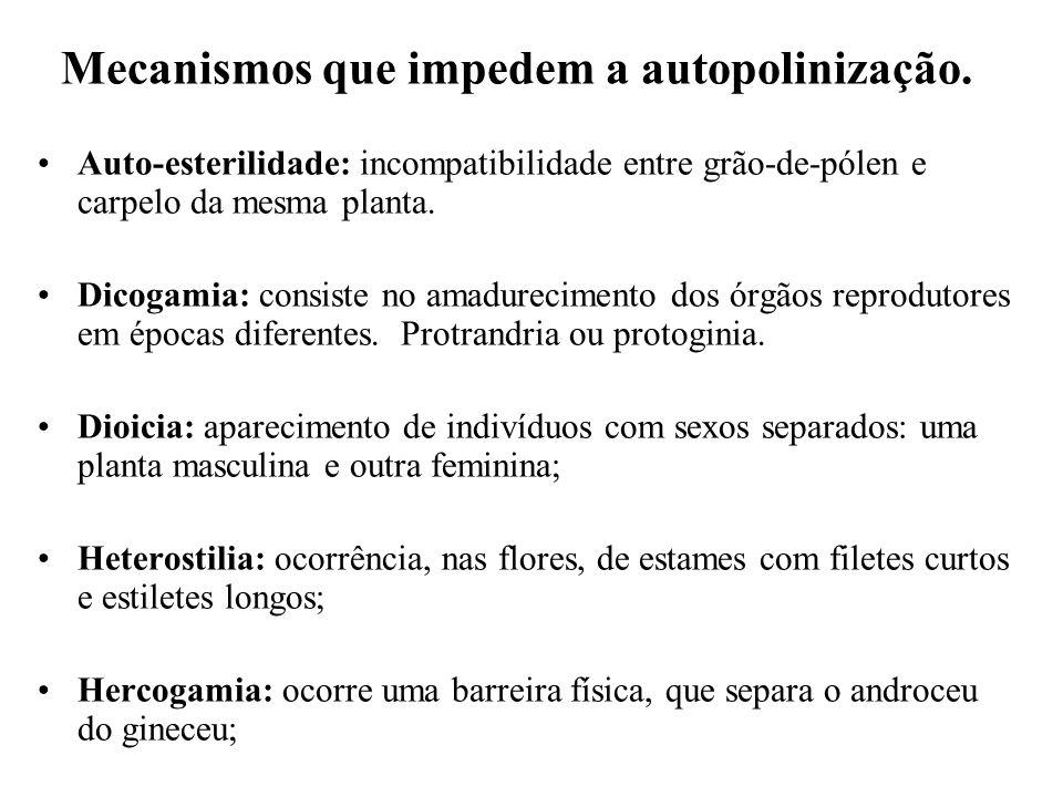 Mecanismos que impedem a autopolinização.