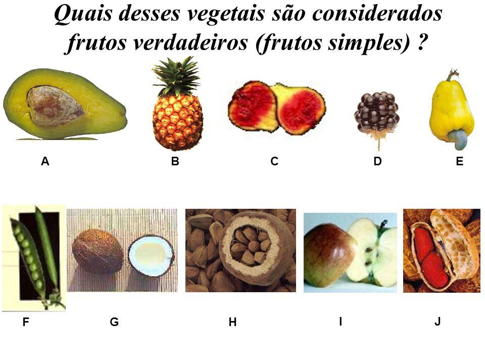 Quais desses vegetais são considerados frutos verdadeiros (frutos simples)
