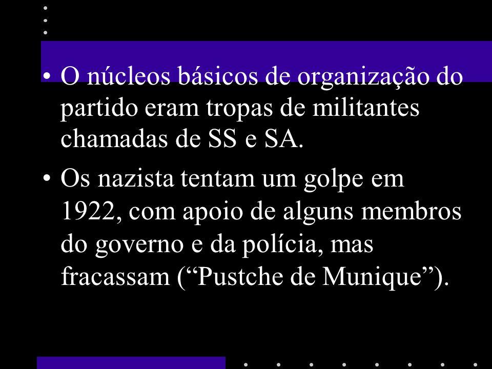 O núcleos básicos de organização do partido eram tropas de militantes chamadas de SS e SA.
