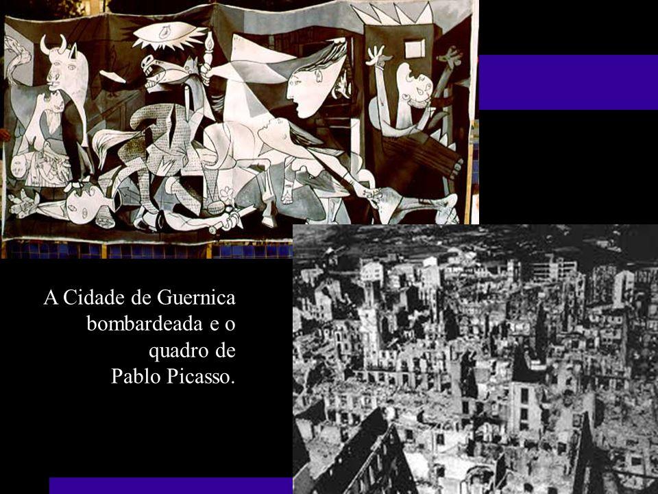A Cidade de Guernica bombardeada e o quadro de