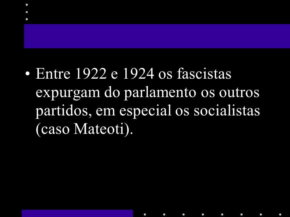 Entre 1922 e 1924 os fascistas expurgam do parlamento os outros partidos, em especial os socialistas (caso Mateoti).