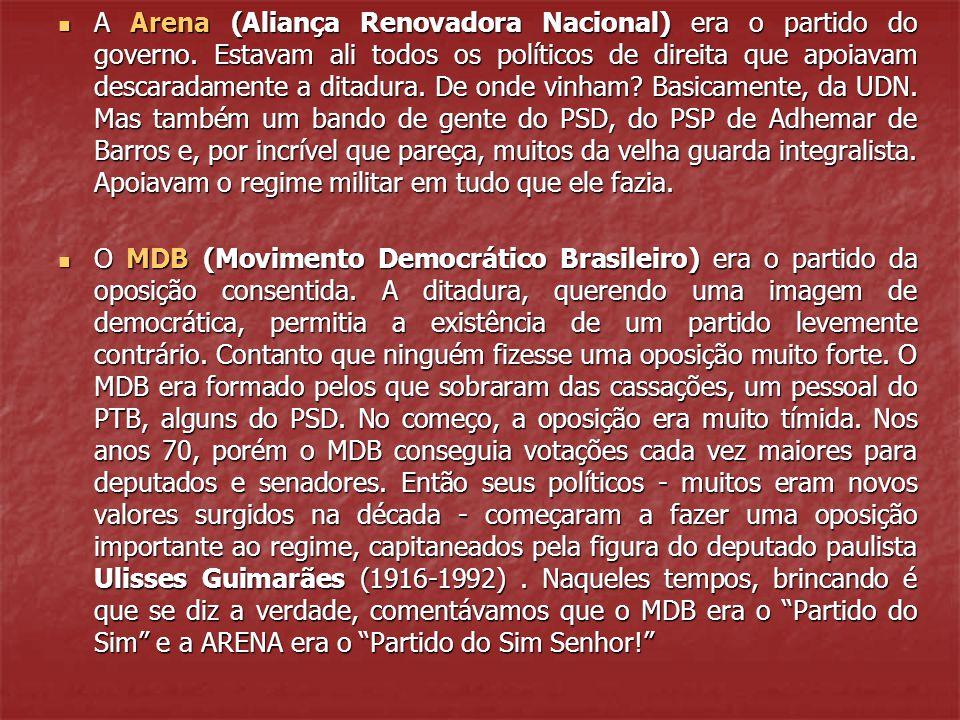 A Arena (Aliança Renovadora Nacional) era o partido do governo