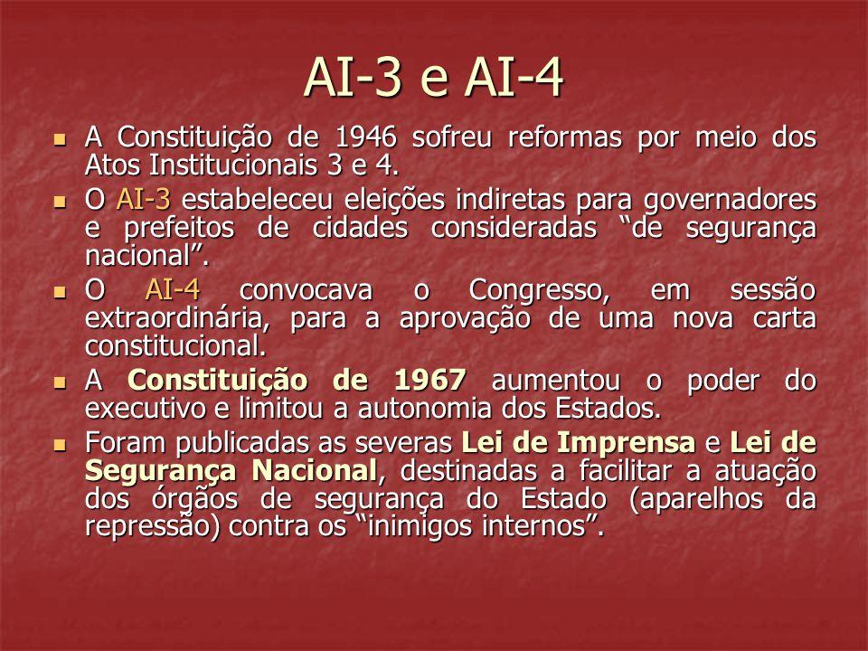 AI-3 e AI-4 A Constituição de 1946 sofreu reformas por meio dos Atos Institucionais 3 e 4.