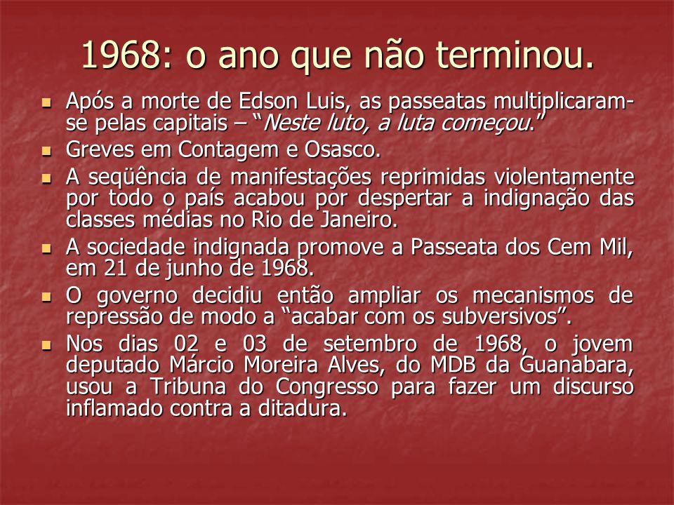 1968: o ano que não terminou. Após a morte de Edson Luis, as passeatas multiplicaram-se pelas capitais – Neste luto, a luta começou.
