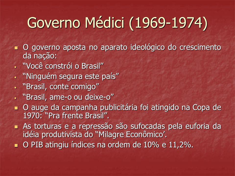 Governo Médici (1969-1974) O governo aposta no aparato ideológico do crescimento da nação: Você constrói o Brasil