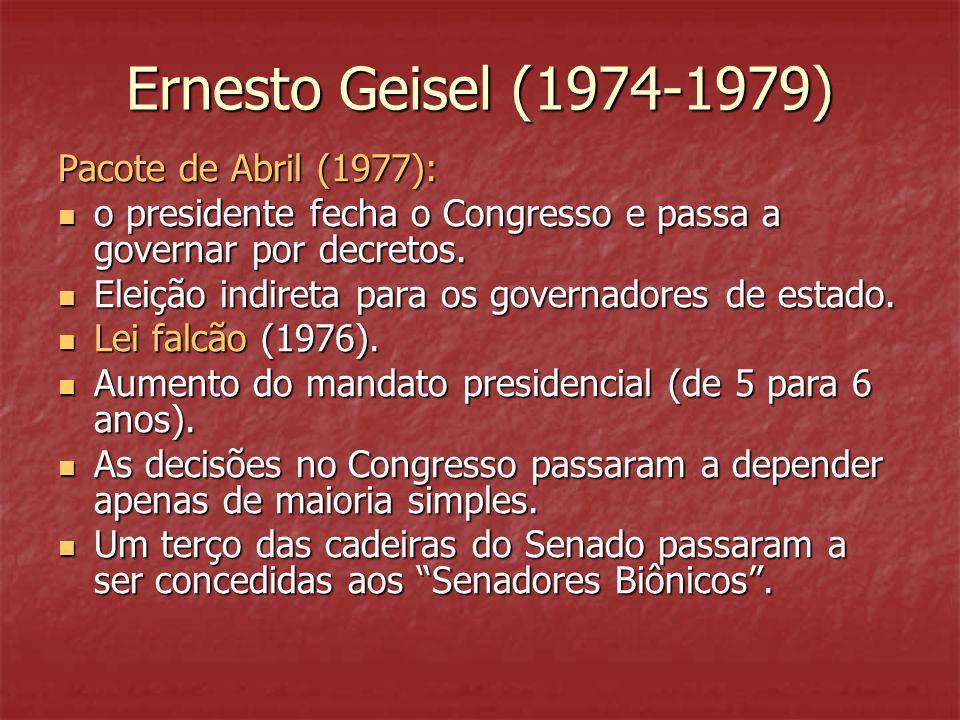 Ernesto Geisel (1974-1979) Pacote de Abril (1977):