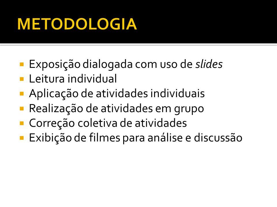 METODOLOGIA Exposição dialogada com uso de slides Leitura individual