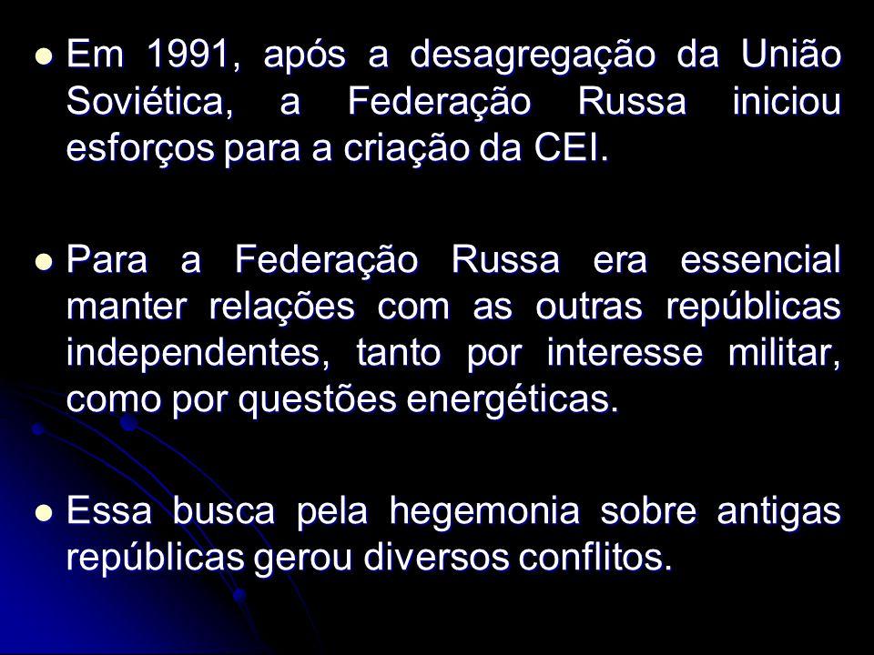 Em 1991, após a desagregação da União Soviética, a Federação Russa iniciou esforços para a criação da CEI.