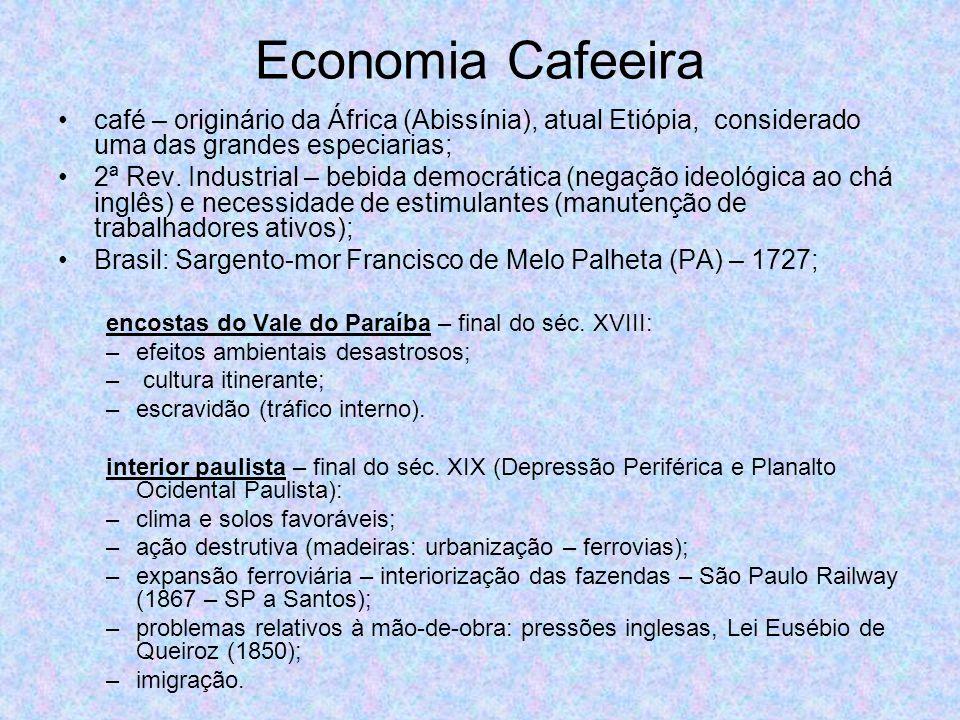 Economia Cafeeira café – originário da África (Abissínia), atual Etiópia, considerado uma das grandes especiarias;