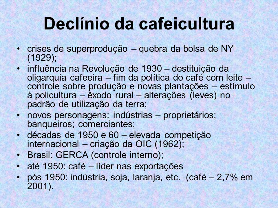 Declínio da cafeicultura