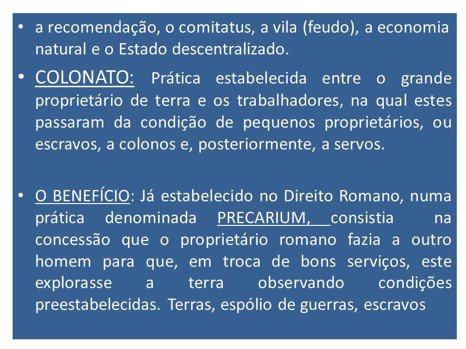 a recomendação, o comitatus, a vila (feudo), a economia natural e o Estado descentralizado.