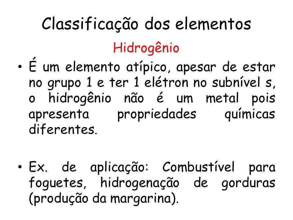 Classificação dos elementos