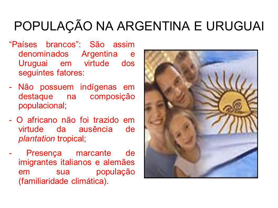 POPULAÇÃO NA ARGENTINA E URUGUAI