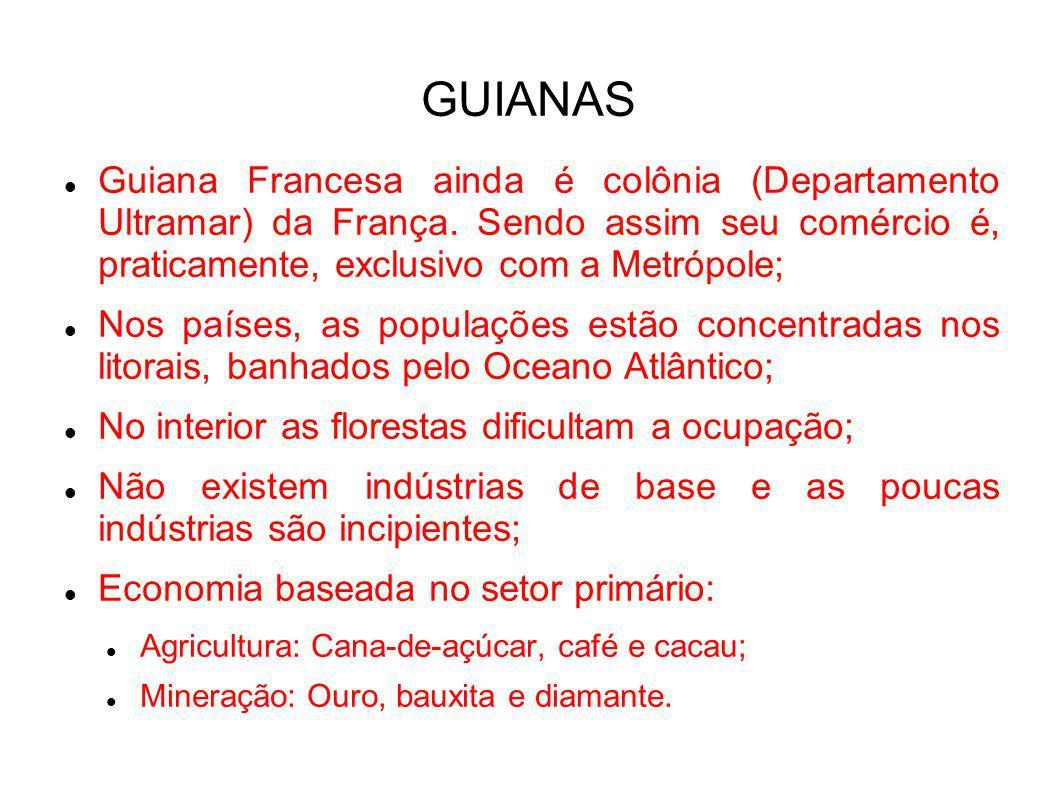 GUIANAS Guiana Francesa ainda é colônia (Departamento Ultramar) da França. Sendo assim seu comércio é, praticamente, exclusivo com a Metrópole;