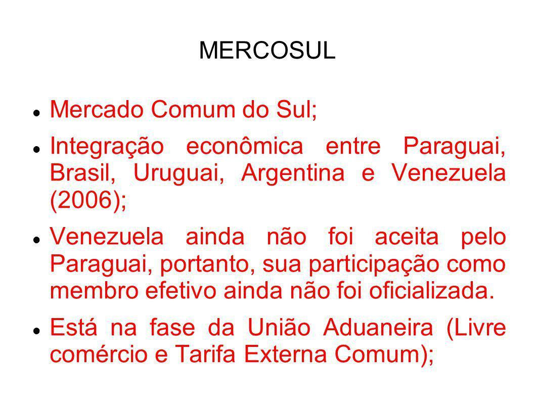 MERCOSUL Mercado Comum do Sul; Integração econômica entre Paraguai, Brasil, Uruguai, Argentina e Venezuela (2006);