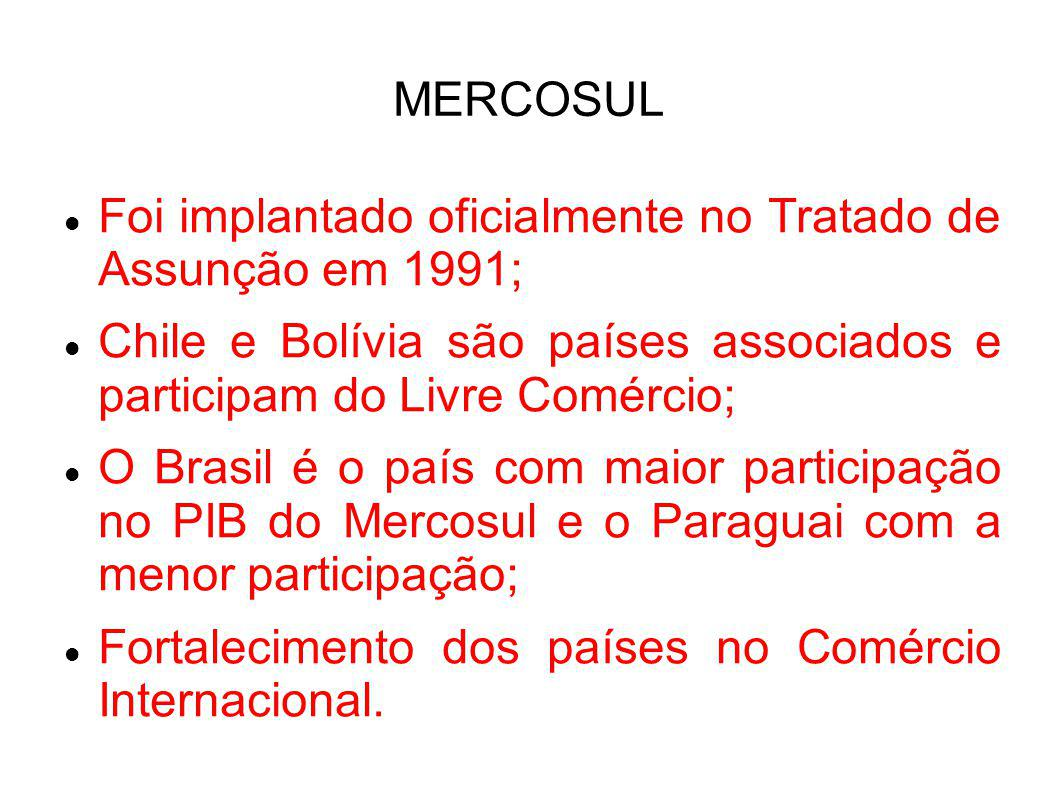 MERCOSUL Foi implantado oficialmente no Tratado de Assunção em 1991; Chile e Bolívia são países associados e participam do Livre Comércio;
