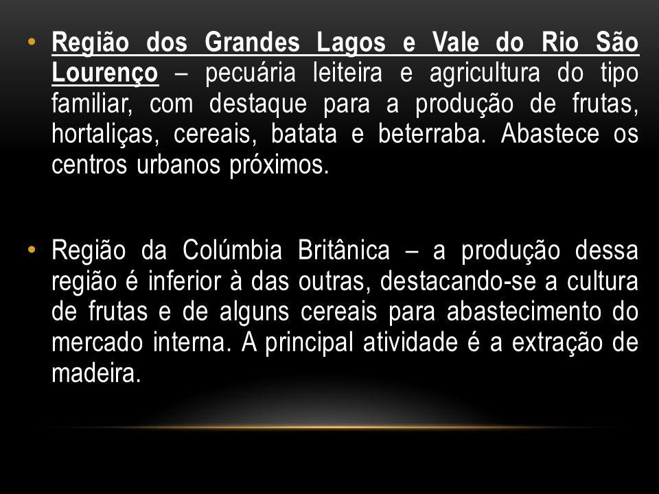 Região dos Grandes Lagos e Vale do Rio São Lourenço – pecuária leiteira e agricultura do tipo familiar, com destaque para a produção de frutas, hortaliças, cereais, batata e beterraba. Abastece os centros urbanos próximos.