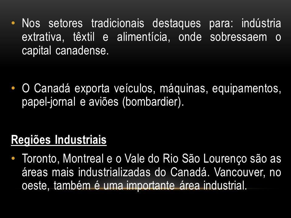 Nos setores tradicionais destaques para: indústria extrativa, têxtil e alimentícia, onde sobressaem o capital canadense.