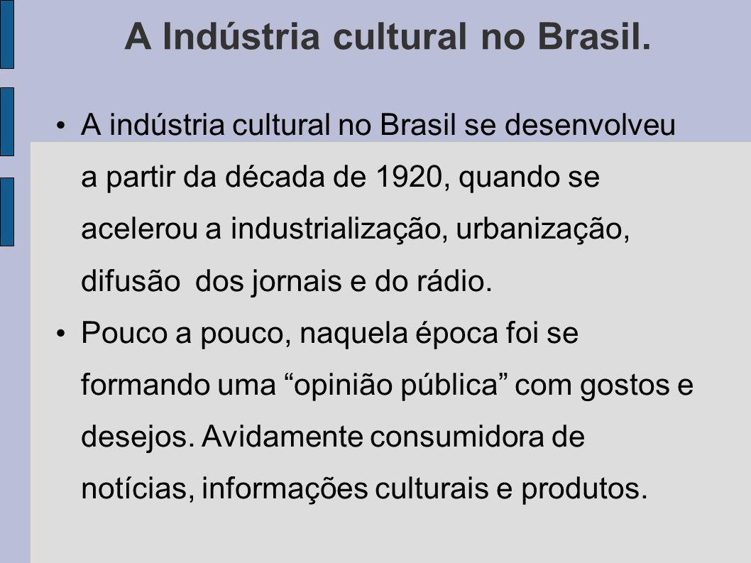 A Indústria cultural no Brasil.