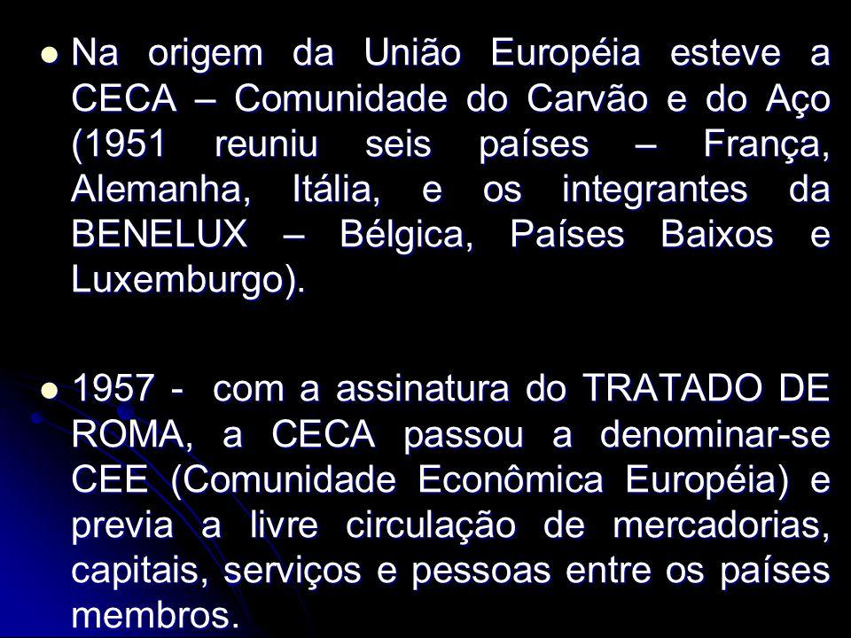 Na origem da União Européia esteve a CECA – Comunidade do Carvão e do Aço (1951 reuniu seis países – França, Alemanha, Itália, e os integrantes da BENELUX – Bélgica, Países Baixos e Luxemburgo).