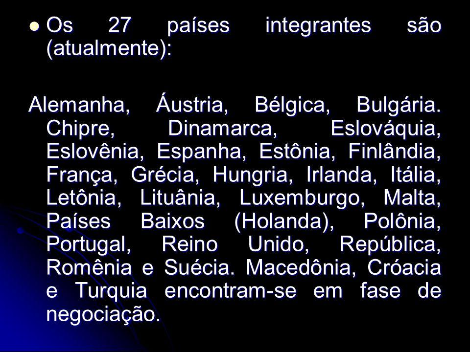 Os 27 países integrantes são (atualmente):