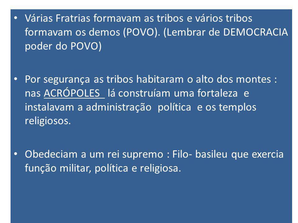 Várias Fratrias formavam as tribos e vários tribos formavam os demos (POVO). (Lembrar de DEMOCRACIA poder do POVO)